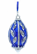 Egg Pendant, Faberge Style,  Sterling Silver 925, Blue
