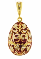 Egg Pendant, Faberge Style,  Sterling Silver, Gold Plated,  Red