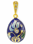 "Tiny Egg Pendant  ""Flower"". Sterling Silver 925, Gold Plated"
