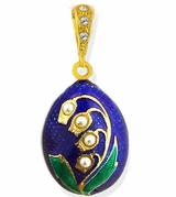 "Egg Pendant  ""Lilies of the Valley"". Silver 925, Gold Gilded"