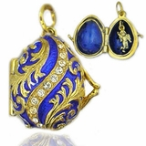 Egg Pendant Locket  with Angel, Sterling Silver, Gold Gilded, Dark Blue