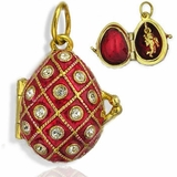 Egg Pendant Locket  with Angel, Sterling Silver, Gold Gilded, Red