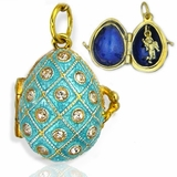 Egg Pendant Locket  with Angel, Sterling Silver, Gold Gilded, Turquoise