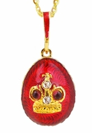 Egg Pendant with Crown,  Sterling Silver, Gold Plated