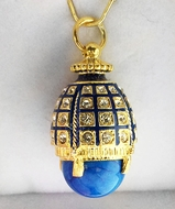 Egg Pendant with Lapis, Silver 925,  Gold Plated