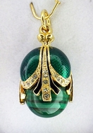 Egg Pendant with Malachite, Faberge Style, Silver 925, Gold Plated