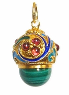 Egg Pendant with Malachite, Russian Filigree Design, Silver, Gold Plated
