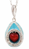 "Egg Pendant with Moving ""Heart"", Sterling Silver 925"