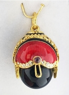 Egg Pendant with Onyx, Enameled, Sterling Silver 925, Gold Plated