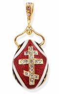 Egg Pendant with Three Barred Cross and ICXC, Silver 925, 18kt Gold Plated