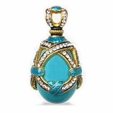 Egg Pendant with Turquoise, Faberge Style, Sterling Silver, Gold Plate