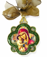 Virgin Mary Zirovitskaya, Faberge Inspired Icon Ornament with Chain & Bow