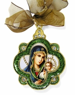 Virgin Mary Eternal Bloom, Enamel Framed Icon Ornament