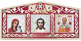 Virgin of Kazan, Christ The Teacher, St. Nicholas, Enameled  Mini Triptych