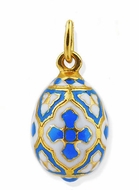 Enameled Russian Egg Pendant , Sterling Silver 925, Gold Plated