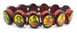 Expandable Wooden Icon Bracelet, Oval Shape