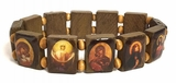Expandable Wooden Icon Bracelet, Rectangular Shape