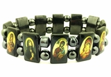 Expandable Hematite Bracelet  with Icons of Virgin Mary and Christ