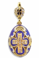 Faberge Style Egg Pendant, Silver/Gold Plated, Enameled
