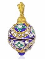 Faberge Style Egg Pendant, Sterling Silver, 24 Kt Gold Plated