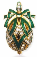 Faberge Style Egg Pendant, Sterling Silver,  24KT Gold Plated