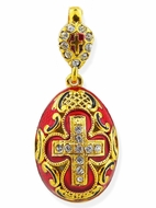 Faberge Style Egg Pendant, Sterling Silver/Gold Plated, Enameled