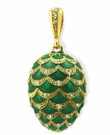Faberge Style Egg Pendant, Swarovski Crystals, Green
