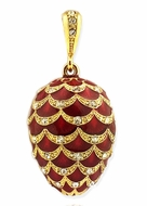 Faberge Style Enameled Egg Pendant,  Red