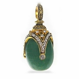 Faberge Style Egg Pendant with Jade (Nefrit), Sterling Silver, Gold Finish