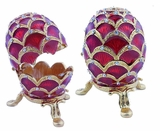 Faberge Style Open Up Enameled Egg, Red