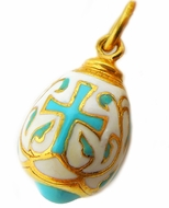 Small Pendant Egg with Cross & Christ, Sterling Silver, Gold Plated
