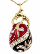 Faberge Style Pendant Egg, Sterling Silver, Gold Gilded
