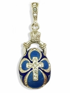 Faberge Style Pendant Egg with Cross, Sterling Silver 925