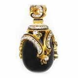Faberge Style Pendant Egg with Onyx, Sterling Silver, 18 Kt Gold Plated