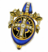 Faberge Style Sterling Silver Pendant Egg,  Gold Plated, Royal Blue