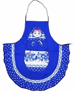 Fabric  Russian Matreshka  Apron, Blue
