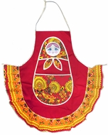 Fabric  Russian Matreshka  Apron, Red