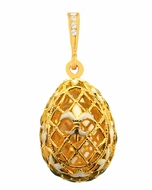 "Filigree Egg Pendant  ""Fleur-de-lis"",  Sterling Silver 925, Gold Gilded"