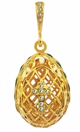 Filigree Egg Pendant  with Cross. Silver, Gold Plated