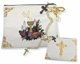 """First Communion, Rosary or Bible Tapestry Pouch Case, 7"""""""
