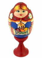 Girl Holding Kulich, Wooden Easter Egg with Stand