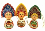 """Girls With Kokoshnik"", Wooden  Christmas Ornaments, Set of 3"