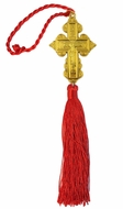 Gold Tone  Metal Cross with Corpus Crucifix and Red Tassel