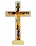 Three Barred Wooden Cross on Stand, Greek Style