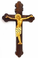 Greek Wooden Wall Cross with Serigraph Corpus Crucifix