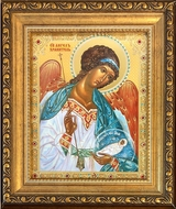 Guardian Angel, Framed  Orthodox Icon with Crystals and Protective Glass