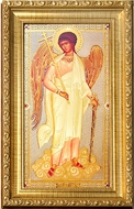 Guardian Angel,  Framed Orthodox Icon with Crystals & Glass