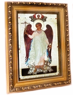 Guardian Angel, Gold & Silver Foil Framed Icon with Crystals and Glass