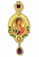 Guardian Angel,   Jeweled Icon Ornament, Yellow Frame & Purple Crystals