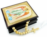 Guardian Angel, Keepsake Rosary Icon Box with Wooden Prayer Rope, 30 Knots